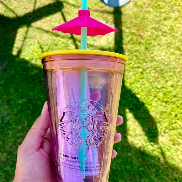 Starbucks Mexico Pink Glass Umbrella Tumbler